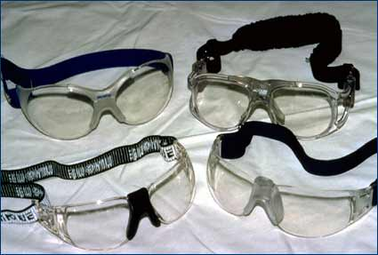 Pairs of protective goggles